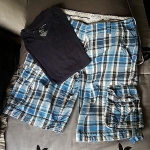 Mens blue Bermuda cargo shorts